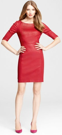 Rochie eleganta din piele rosie pentru femei, Foto: leatherfads.com
