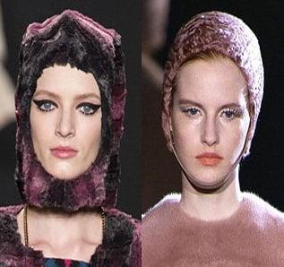 Caciuli din blana pentru femei, marca Anna Sui, Mugler, Foto: fallwinterfashiontrends.com
