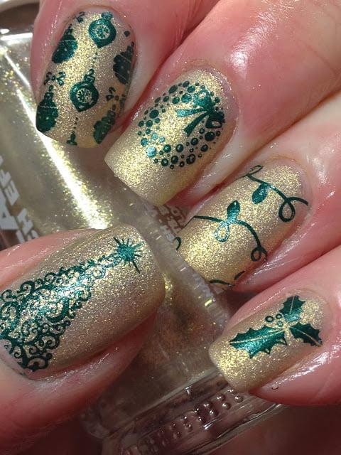 Manichiura in verde si auriu, Foto: canadiannailfanatic.blogspot.ro