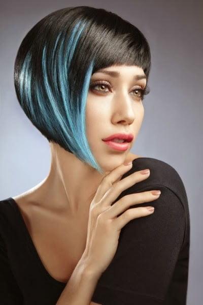 Tunsoare bob cu suvite albastre, Foto: modelatucabello.blogspot.ro