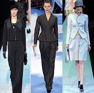 Costume de dama Giorgio Armani, Christian Dior, Emporio Armani, Foto: fallwinterfashiontrends.com