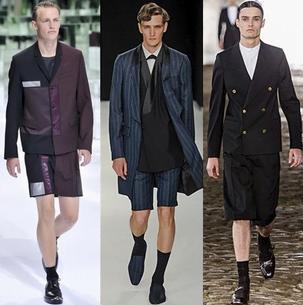 Sacouri cu pantaloni scurti pentru barbati, marca Dior Homme, E.Tautz, Alexander McQueen, Foto: springsummerfashiontrends.com