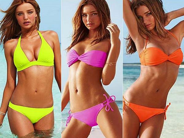 Costume de baie elegante la Miranda Kerr în nuanțe de culori neon vesele și luminoase, Foto: ego.globo.com