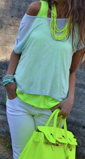 Culorile neon arată extraordinar, Foto: fashion-and-style-for-all.blogspot.ro