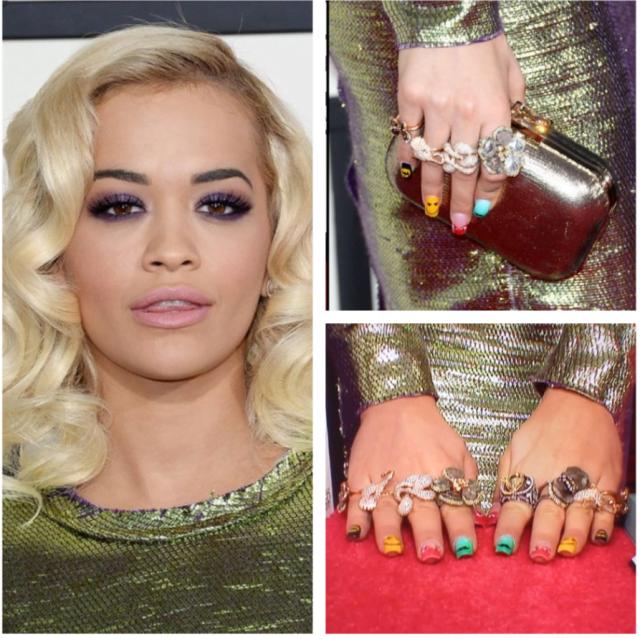 Inele pe toate degetele la Rita Ora, Foto: alsonjewelers.wordpress.com