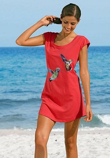 Tunică elegantă roșie și imprimeu cu pasărea paradisului, Foto: albamoda.de