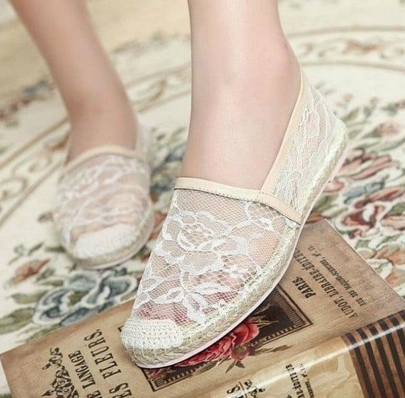 Espadrile din dantelă albă, Foto: aliexpress.com