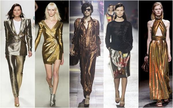 Haine cu luciu metalic, creații Dior, Balmain, Jean Paul Gaultier, Saint Laurent și Lanvin, Foto: beautifullyfierce.blogspot.ro