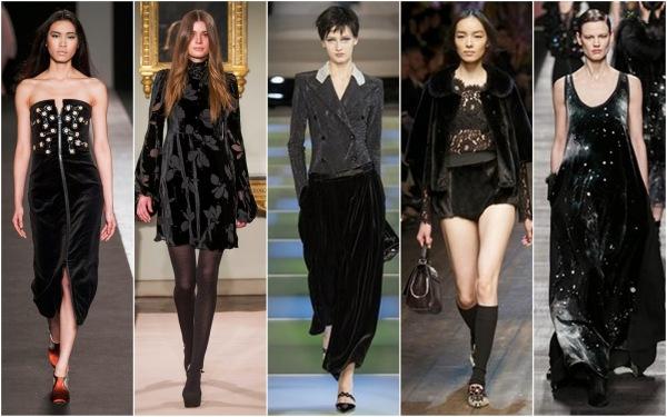 Catifeaua la modă în toamna-iarna 2014-2015, creații Andrea Inctonri, Blugirl, Emporio Armani, Dolce and Gabbana and Fendi, Foto: bellesavenuexo.blogspot.ro