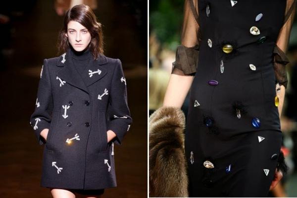Haină cu săgeți marca Carven și rochie cu bijuterii marca Celine, Foto: bromeliadliving.com
