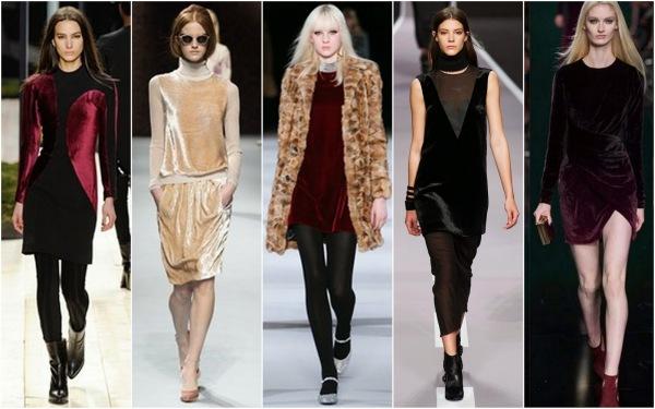 Moda în toamna-iarna 2014-2015, rochii din catifea marca Maiyet, Nina Ricci, Saint Laurent, Viktor+Rolf and Elie Saab, Foto: beautifullyfierce.blogspot.ro