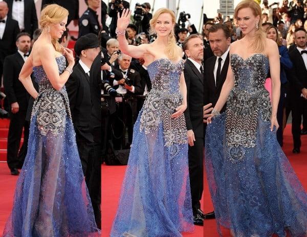 Nicole Kidman are o coafură foarte elgantă și o rochie uimitoare cu o broderie plină de rafinament, creație Armani, Foto: duongbo.vn