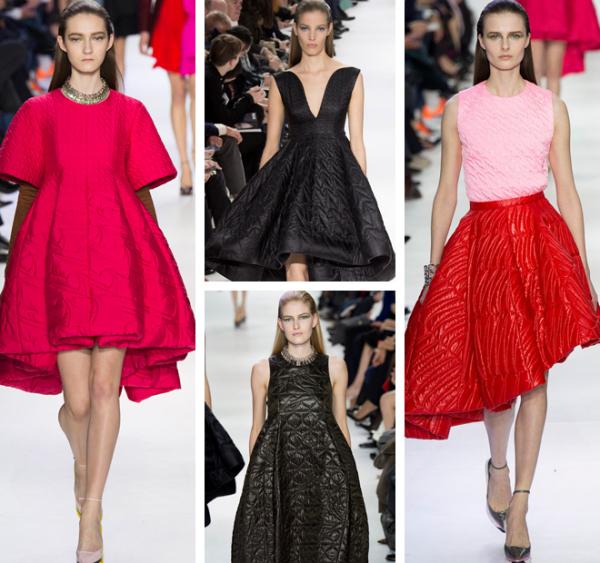 Rochii din material matlasat, colecția Dior, Foto: afternight.tv