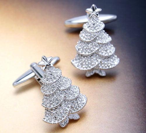 Butoni argintii în formă de brăduț, Foto: aliexpress.com