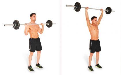 Exercițiu cu bara cu haltere din poziția în picioare, Foto: enkivillage.com