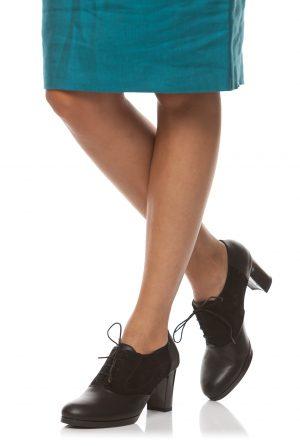 Pantofi damă cu șiret și toc pătrat