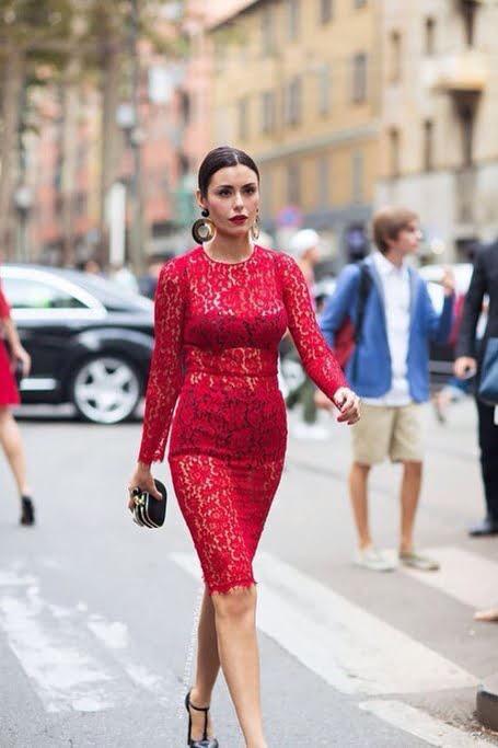 Dantela roșie este în tendințele modei în acest an, Foto: systing.diandian.com