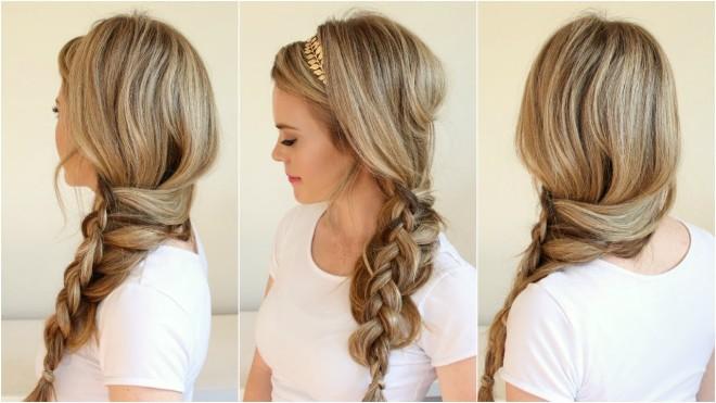 Coafură cu părul împletit în codiță lejeră, Foto: youtube.com