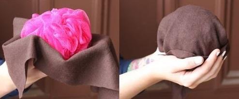 Coc elegant retro, pasul 1, se folosește un burete de dus pentru a crea volum părului, Foto: sohappily.com