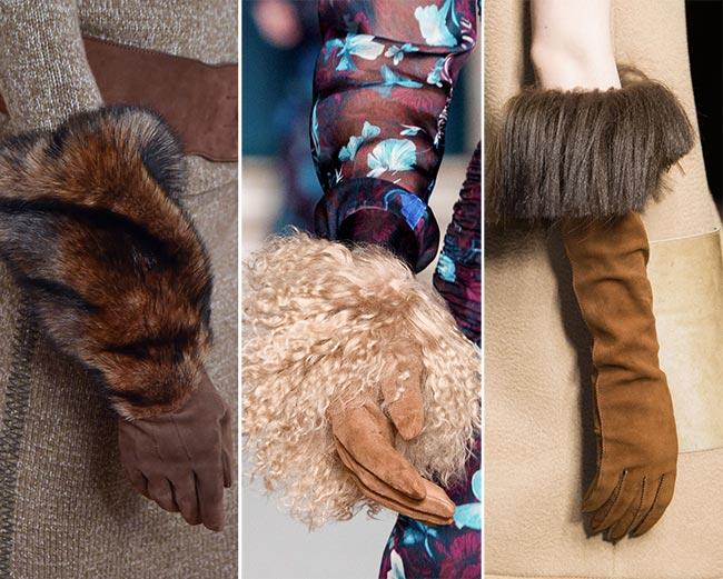 Mănuși din piele întoarsă cu blană, Foto: fashionisers.com