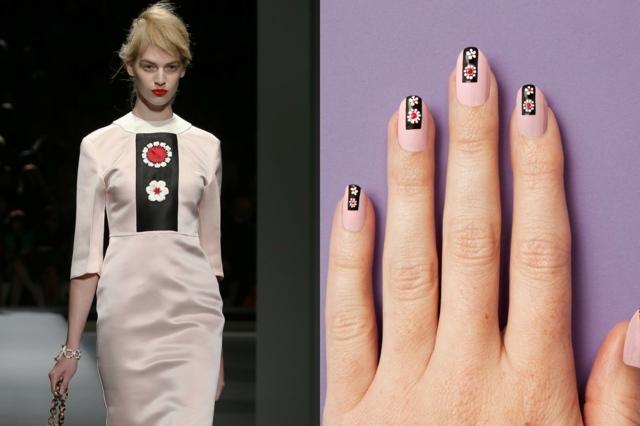 Manichiură cu model interesant negru cu margarete pe fond deschis la culoarea pielii, Foto: deavita.com