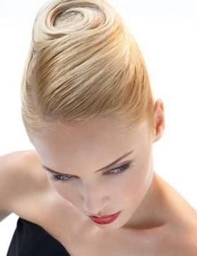 Coc elegant, șuvițele de păr sunt prinse în parte de sus în spirală, Foto: haircreation.e-monsite.com