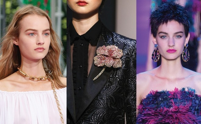 Colier Dior în formă de lanț, broșă în formă de floare marca Schiaparelli, cercei impresionanți Alexandre Vauthie, Foto: http: en.vogue.fr