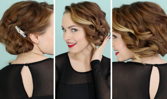 Coafură bob fals simplă pentru păr ondulat