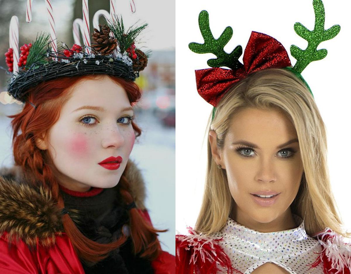Coafuri cu accesorii cu tematică de Crăciun, Foto: pretty-hairstyles.com